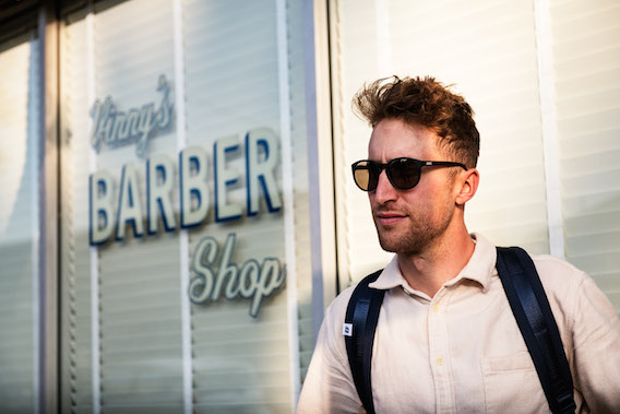 Taylor Phinney at Vinny's Barber Shop